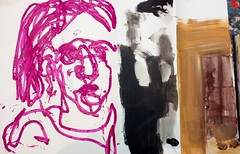 im Westen war die Sonne untergegangen (raumoberbayern) Tags: acryl acrylic portrait robbbilder red rot magenta sketchbook skizzenbuch