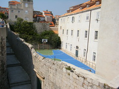 Dubrovnik, Croatia - five a side football pitch inside City Walls (rossendale2016) Tags: netball basket basketball original rare club location unusual each team posts goal net nets score two teams within enclosed playing ball game surface blue 5 soccer pitch football side five walls city inside croatia dubrovnik sport youth referee small quiet local league inspired