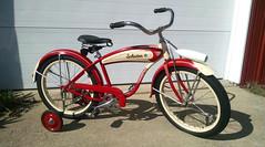5744 (centerprairie) Tags: red 1948 bicycle stand tank balloon ivory tire chrome spitfire brake pedals handlebar horn schwinn coaster juvenile rods 1949 saddle dx truss grips bendix 20