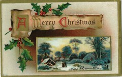 Antique Christmas Postcard - A Snowy Scene (Brynn Thorssen) Tags: santa christmas xmas red holiday snow green vintage gold antique holly postcards yule fatherchristmas santaclaus merrychristmas santaklaus happynewyear happychristmas yuletide oldsaintnick
