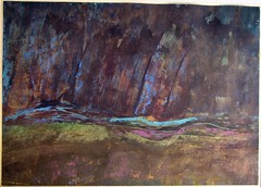 painting early abstract landscape gouache and oilpastel21x29.5cm