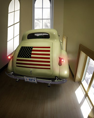 The Watching Room (PhotoAtelier) Tags: classic car surrealism flag surveillance magritte chevy spy taillights