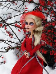snow (tehhishek) Tags: november winter red monster high december darkness ooak story american horror custom blizzard bullfinch the countess bloodgood headmistress