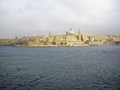 Valletta (sharon.corbet) Tags: valletta malta 2009 sea church roofs bay water sky city dome