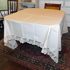 Vintage Linen-Look, Lace-Edged Ivory Tablecloth - Stiff Fabric, Permanent Press (karalennox) Tags: holiday dinner vintage table lace formal large ivory etsy tablecloth offwhite ecru linens creamcolored recangle