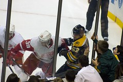 #39 Anthony Mantha and #52 Sean Kuraly (Odie M) Tags: nhl hockey icehockey boston tdgarden preseason teamsport sport ice boards hit check anthonymantha seankuraly bostonbruins detroitredwings fans crowd