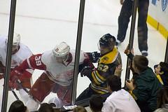 #39 Anthony Mantha and #52 Sean Kuraly (Odie M) Tags: nhl hockey icehockey boston tdgarden preseason teamsport sport ice boards hit check anthonymantha seankuraly bostonbruins detroitredwings fans crowd