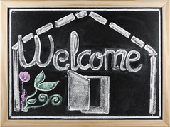 Welcome message written in a blackboard (davidherraezcalzada) Tags: welcome greeting success professional background communication deal word board school education blackboard chalkboard texture chalk message drawing white classroom learning write note advertising announcement concept symbol remember university text teacher close