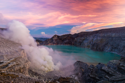 Sunrise at Kawah Ijen volcano in Java