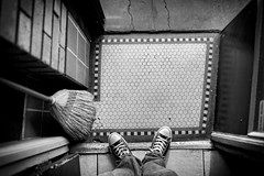 chucks (Michael Brooking Photography) Tags: chucks converse allstars michaelbrookingphotography blackandwhite tile stocktoncalifornia reds coffee tea cafe downtown