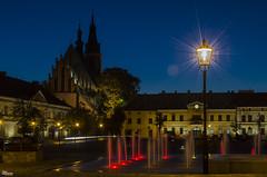 _DSC9104_n (fototaza) Tags: olkusz poland color light city fountain town hall church bluesky