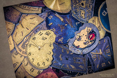 Time Warped 2 (PhotoArtMarie) Tags: blue yellow numbers time beige creativeedit