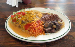 Filling and Delicious Food (genesee_metcalfs) Tags: food dinner flint sweetestday mexican echiladas rice beans stew salad hotsauce