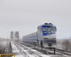 Over the river (Michael Berry Railfan) Tags: amt agencemtropolitainedetransport emd gmd f59phi passengertrain train commutertrain montreal quebec winter snow amt1326