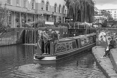 unlocked (stevefge) Tags: camden camdenlock london uk boats water canal candid people leisure blackandwhite bw monochrome reflectyourworld
