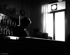 the coffee makers (Ren Mollet) Tags: coffee woman blackandwhite bw monchrom street streetphotography shadow silhouette coffeeshop italy italien renmollet