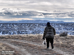 Nov 28 2016 - Cuca and Pepper on a chilly outlands walk (lazy_photog) Tags: lazy photog elliott photography badlands big horn basin worland wyoming outlands mountains hills rocks red tailed hawks cuca pepper snow 112816outlandsbytheblmgravelpits