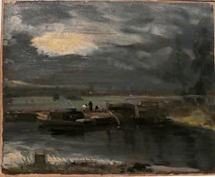Barges on the Stour, with Dedham Church in the Distance (jhitzeman) Tags: victoriaandalbertmuseum va london kensington johnconstable oilsketch