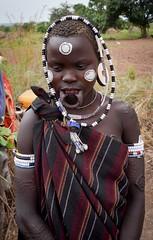 Mursi Woman (Rod Waddington) Tags: africa african afrika afrique ethiopia ethiopian ethnic etiopia ethnicity ethiopie etiopian thiopien omovalley omo omoriver valley village valle mursi tribe traditional tribal scarification face painted female outdoor