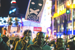 Raise your voice every single time they try and shut your mouth (Antonello_v) Tags: censored people immigrant race silence rage manifestation rights law europe europa man men boy young fight system light lights cool noise crowd live life madrid spain españa night building