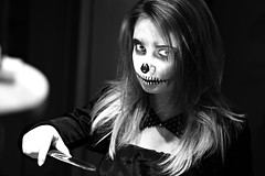 What are you looking at? (Wiktor Sobiecki) Tags: black white blackandwhite people indoor monochrome portrait scary halloween 2016 party costume paint makeup eyes look sony sel50f18 50mm f18 a6000