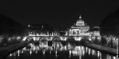 Rome by night (and641) Tags: nikond5100 rome italy vatican night lights city water river ponteumberto longexposure 35mm noiretblanc blackandwhite bw