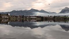 smoke lake (ravenRat) Tags: lake smoke chimney grey mountain hopfensee fuessen ravenrat d90 nikon