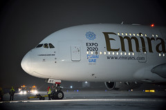 Super Jumbo A380 (Nick Aviator) Tags: airbus a380 emirates airline aviation avgeek spotting planespotting night sky dark snow snowfall taxiing airport gate domodedovo uudd dme moscow russia lights weather
