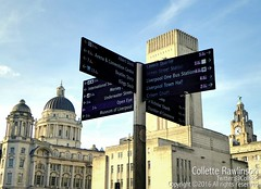 All rights reserved Collette Rawlinson (Collette Rawlinson) Tags: liverpool england uk winter december 2016 where go sign post cross roads liver building bird port three graces tunnel air vent shaft blue sky walk