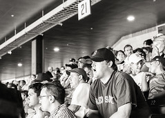 Boston Red Sox v. New York Yankees - Fenway Park - August 21, 2006 (day game) (deanmackayphoto) Tags: bostonredsox newyorkyankees fenwaypark august212006 field ballpark stadium 35mm film filmisnotdead contax bw blackandwhite crowd fans 21