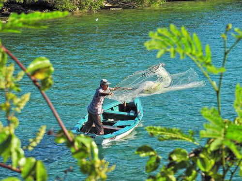 Fisherman casting his net Cuba