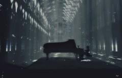 I got a heart rush... (Morrigan Outlander) Tags: secondlife sl avatar virtual virtualworld 3d piano music song blond blackwhite bw cathedral maitreya catwa beams light dark lovers emotions feelings ipiccy