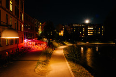 Adventures with Ricoh - Oslo - 13. Streamside mood lighting () Tags: oslo norway ricoh ricohgr gr travel 2016 night nightshot nightphotography river moon moonlight neon pink stream water