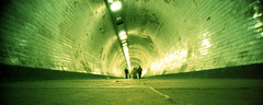 Greenwich Foot Tunnel (pho-Tony) Tags: camera color colour film rollei 35mm point xpro crossprocessed shoot fuji crossprocess wide shift slide panoramic ishootfilm velvia cast crossprocessing automatic transparency prego r1 analogue 24mm 50 expired hue e6 ricoh compact micron 5x2 30mm 50asa c41 iso50 ricohr1 filmisnotdead tetenal rolleipregomicron