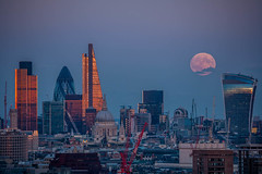 Supermoon September 2015 rises over London 2 (London From The Rooftops) Tags: city moon london skyline eclipse twilight view rooftops moonrise nightsky westend skyatnight cityoflondon lunareclipse supermoon