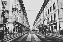 The road to infinity... Lisbon - Rua da Vitoria (mostaphaghaziri) Tags: road street blackandwhite portugal abbey trafficlight nikon lisbon infinity da beatles rua vitoria zebracrossing d5500