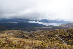 cloud break (Burnt Out Chevrolet) Tags: park new summer cloud mist mountain lake grass weather rock fog landscape volcano scenery break path plateau sony under central 15 roadtrip zealand national cover february feb alpha tongariro a200 volcanic 2015 rotoaira
