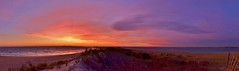 Watch Hill Sunset (RWGrennan) Tags: ocean ri travel sunset sky panorama usa moon color beach nature water beautiful clouds fence point outside island fire bay sand nikon waves little ryan pano united dune hill watch spit atlantic states 5100 rhode peninsula napatree westerly grennan narraganset d5100 rwgrennan rgrennan