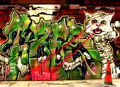 Tizer (Draopsnai) Tags: urban streetart cat graffiti zombie shoreditch fencing hackney tizer laaser willowstreet
