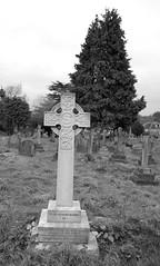 Simple cross marking the grave of Sir Francis John Milman (IanAWood) Tags: pinner londoncemeteries londonboroughofharrow walkingwithmynikon nikkorafs24mmf14g pinnercemetery nikondf