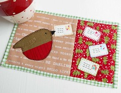 Robin and Letters Mug Rug (The Patchsmith) Tags: christmas robin patchwork applique mugrug patchsmith