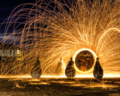 Weeble Woolspin (whistlingtent) Tags: wire wool spinning south shields weebles sparks bright fire colour orange sculpture