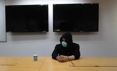 Arrested gangster nervously wait for interrogation (asiancuffs) Tags: handcuffs handcuffed arrest arrested inmate prisoner interrogation