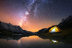 Did you miss me? What a beautiful and ...lonely world! (dana sewell) Tags: tent camping outdoor mountain night adventure sky yellow camp lit milky stars nature under travel lifestyle landscape way hiking climbing summer beautiful rugged high beauty mountains starry life time water space outdoors equipment vacation dark cold fun holiday weekend milkyway galaxy universe world nightsky reflection lake extreme himalayas nepal kangchenjunga