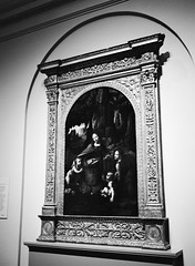 The Virgin of the Rocks by Leonardo da Vinci (oh it's amanda) Tags: fujiga645i ga645i ilfordxp2 blackandwhite blackwhite bw c41bw c41blackandwhite london londonengland england nationalgallery museum artmuseum