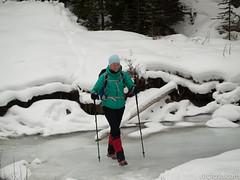 Julia dancing over frozen creek (David R. Crowe) Tags: landscape mountain mountainscrambling nature outdooractivities scrambling turnervalley alberta canada