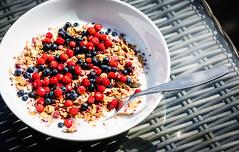 Breakfast, July 17, 2016 (Ulf Bodin) Tags: fil blueberries sverige breakfast outdoor muesli filmjlk fragariavesca canoneos5dmarkiii hemma blbr canonef100400mmf4556lisiiusm frukost wildstrawberry summer woodlandstrawberries mesli sweden smultron blbr filmjlk mesli