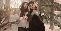 :: Winter Sisters (Glamrus∆) Tags: sisters cute adorable seasonal winter glamrus poses outdoor foxy addams blueberry catwa head letre outside ske landscape photography secondlife second life zaara family