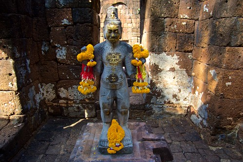 Radiating Boddhisatva Avalokitesavara at Monument No. 1 in Prasat Mueang Singh historical park in Kanchanaburi, Thailand