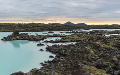 Iceland - Blue Lagoon (kewlscrn) Tags: blue lagoon blaue lagune iceland island remo bivetti nikon d800 nikkor 2470mm iso100 1125 f56 38mm landscape sunset clouds lavafield lava moss water colour natural minerals mountains composition angle spring hot